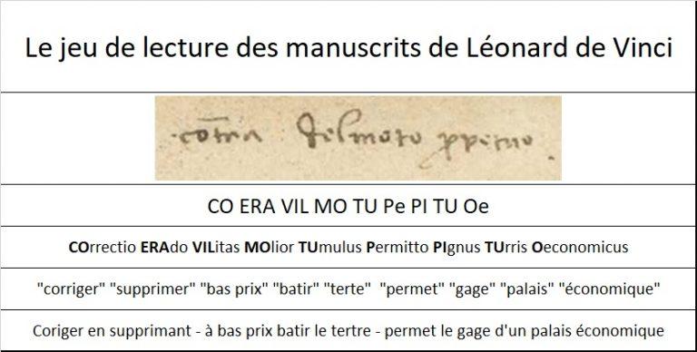 Lecture de texte de Léonard de Vinci